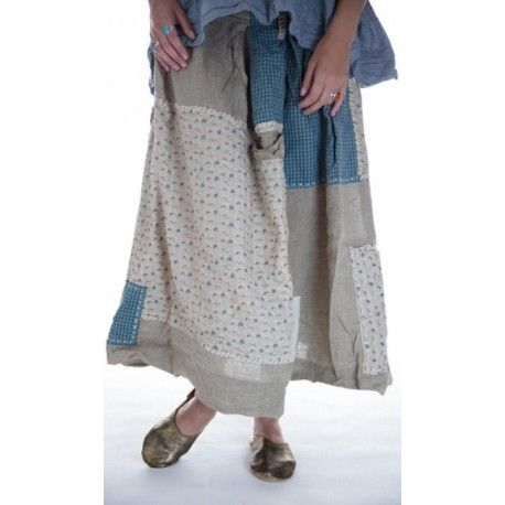 skirt Angelica in Drenched Sand and Blue Poppy