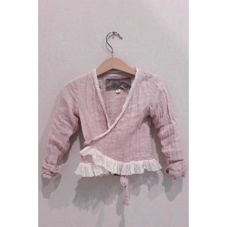 wrap top ALBAN KID in pink soft fabric