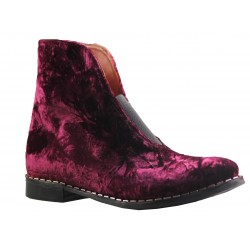 bottines ADANA en velours bordeaux