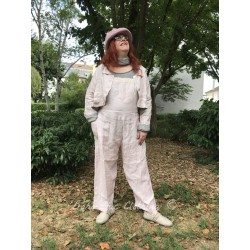 dungarees GEORGETTE in pink linen