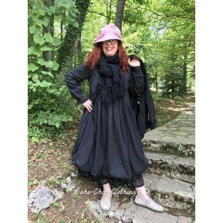dress LYLY in black cotton poplin