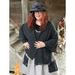 shawl NINON in grey wool