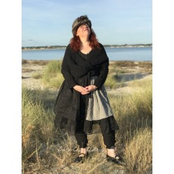 dress NOEMIE in black linen