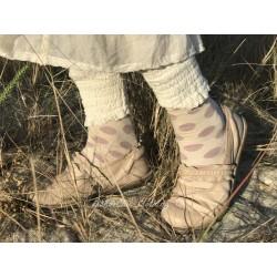 chaussettes AMELIE écru à pois rose