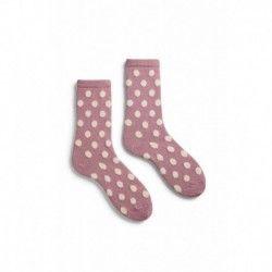 socks classic dot crew length wool + cachemire mauve