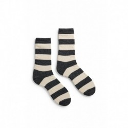 socks rugby stripe crew length wool + cachemire charcoal