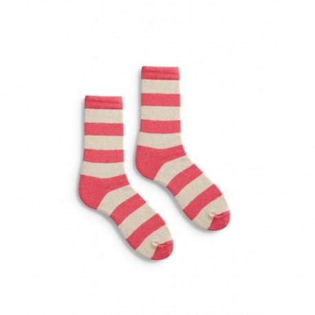 chaussettes rugby stripe en laine et cachemire rose azalea