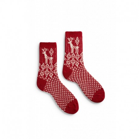 socks reindeer in red wool and cashmere