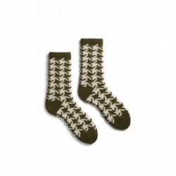chaussettes giant houndstooth laine + cachemire vert olive
