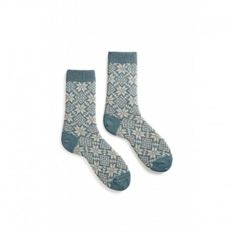 chaussettes snowflake laine + cachemire bleu mineral