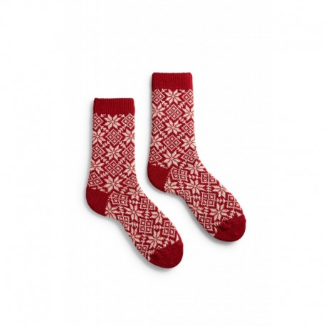 socks snowflake in red wool and cashmere