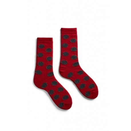 socks giant dot in red wool and cashmere