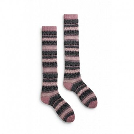 socks fair isle knee high in mauve wool and cashmere