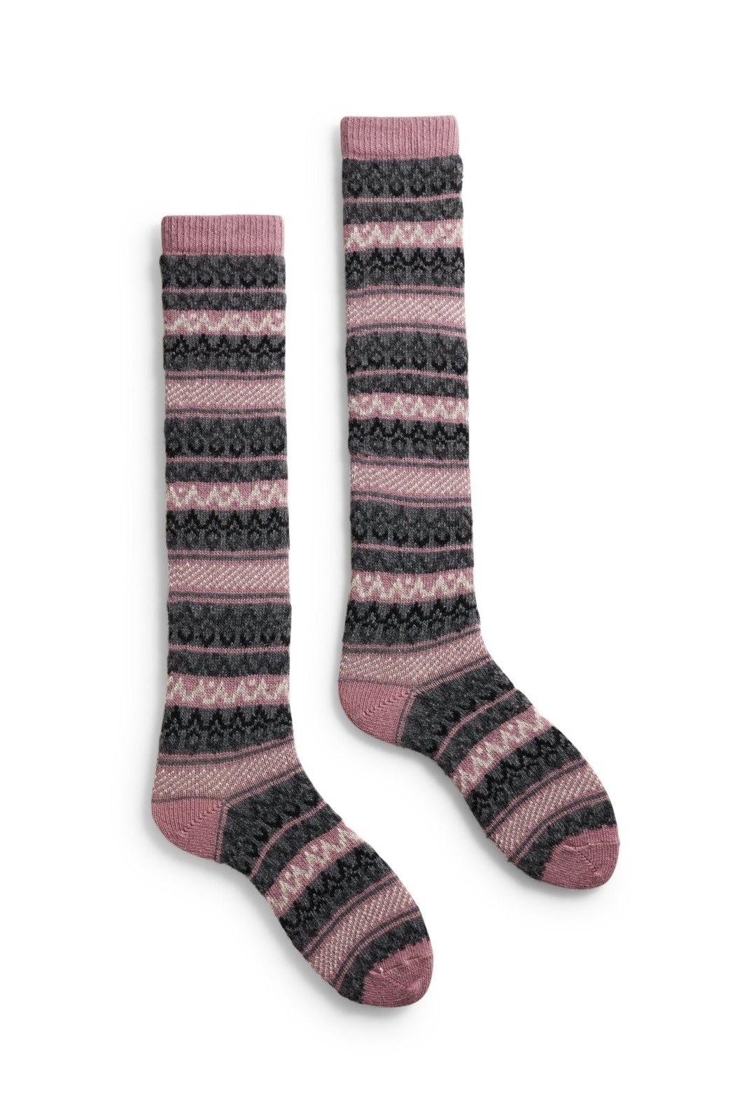 7f8531a6f socks fair isle knee high in mauve wool and cashmere - Boho-Chic Clothing