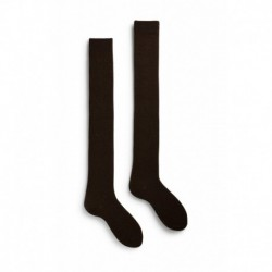 chaussettes solid over-the-knee laine + cachemire couleur café