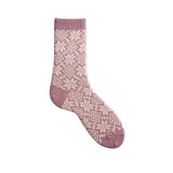 chaussettes snowflake laine + cachemire mauve