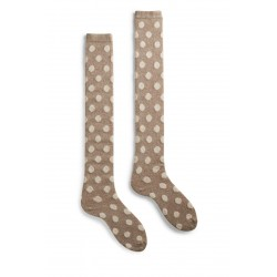 chaussettes dot over-the-knee laine + cachemire beige