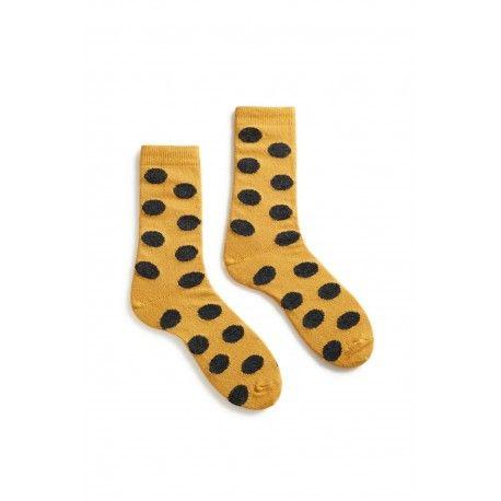 socks giant dot crew length wool + cachemire yellow