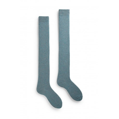 socks solid over-the-knee length wool + cachemire mineral