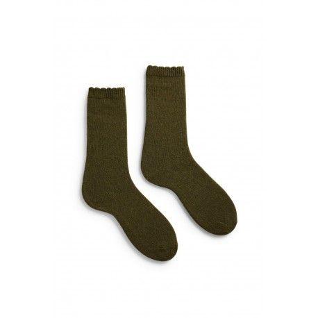 chaussettes scallop edge laine + cachemire vert olive