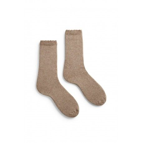 socks scallop edge crew length wool + cachemire mushroom