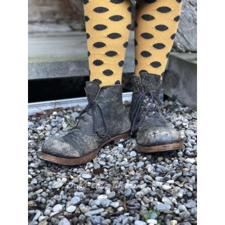 chaussettes dot over-the-knee laine + cachemire jaune à pois gris foncé