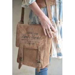 sac bandoulière imprimé «Chapellerie Paret-Marchel» en cuir de chèvre recyclé