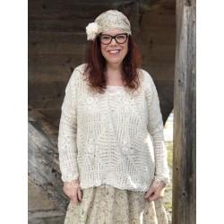 pullover CLOCHETTE ecru crochet
