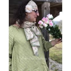 foulard PAULINE coton fleurs rose et verte