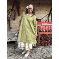 robe ADELE lin vichy vert