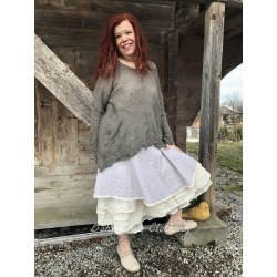 skirt / petticoat GISLAINE in lilac cotton with brown dots and organza