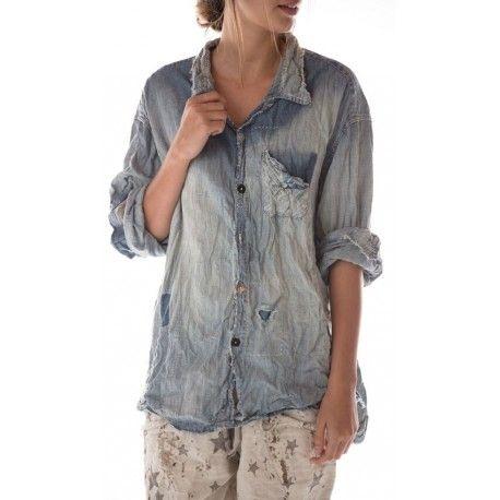 chemise Adison Workshirt in Washed Indigo