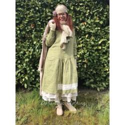 dress ONDINE green gingham linen
