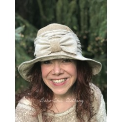 chapeau RAFFAELLA en chanvre et lin beige