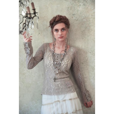 blouse Cosy Bohemian in Light grey lace