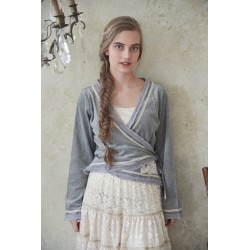 wrap blouse Delicate joy in Light grey velvet