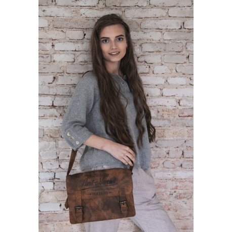 small sling bag with print «Chapellerie Paret-Marchel» in Recycled goat leather