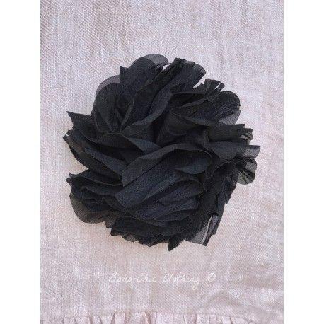 brooch FLEURS black organza