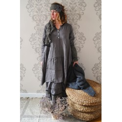 long dress NATACHA gray linen