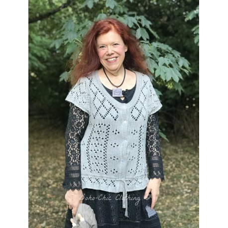knitted blouse Devotee hearts in Light grey
