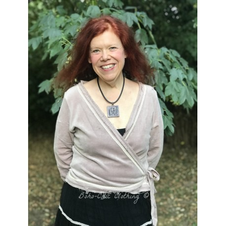 wrap blouse Delicate joy in Delightful plum velvet