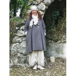 reversible coat SIMON gray khadi cotton lined with floral cotton