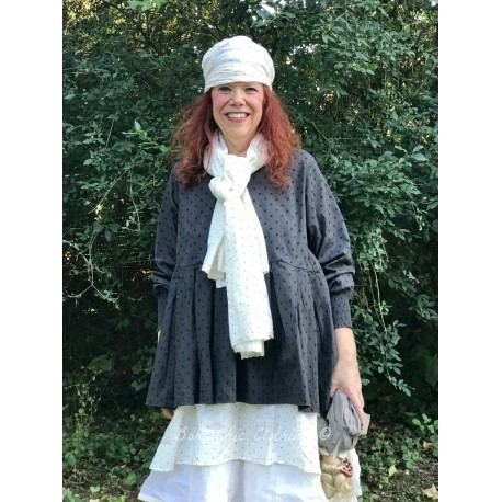 scarf PAULINE off-white with black dots cotton