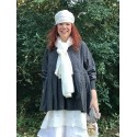 foulard PAULINE coton blanc cassé à pois noir