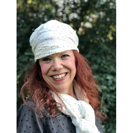 headband CELESTE off-white with black dots cotton