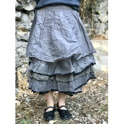 skirt / petticoat BERANGERE gray organza & gray gingham cotton