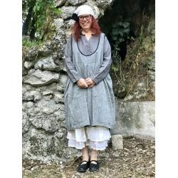 robe / tablier réversible ALIX coton chambré gris / noir à petits pois blancs