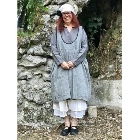 reversible dress / apron ALIX gray chambray cotton & black with small white dots cotton