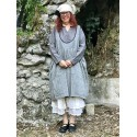 reversible dress / apron ALIX gray chambray cotton & black with small white dots cotton