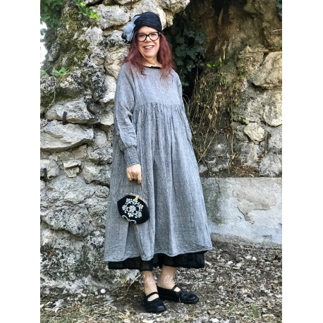 robe longue CANDYS coton chambré gris